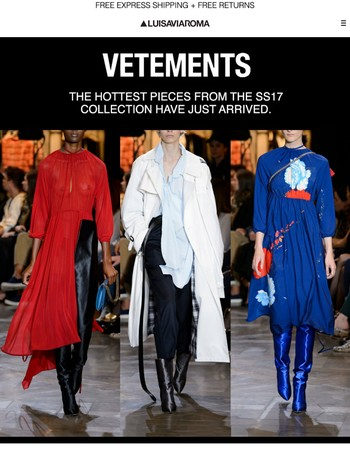 New Arrivals: Vetements SS17 Womenswear