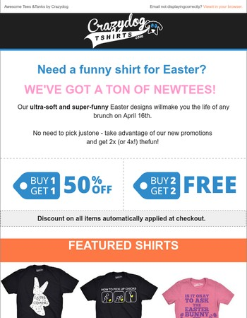 Shop Our New Easter T-shirts - Two New Promo Codes!