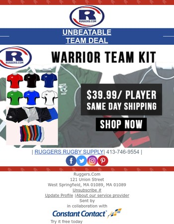 Don't miss out on this chance to outfit your rugby team.
