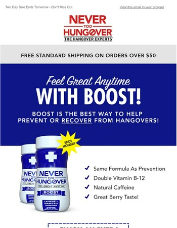 Here's 20% Off - Avoid a hangover and feel a boost!