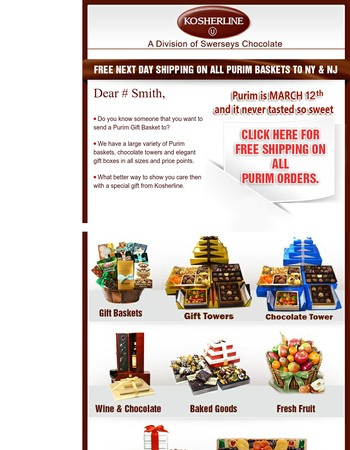 Only 4 Free Shipping Days Left to Purim