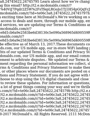 Updates to McDonald's Terms & Conditions and Privacy Statement