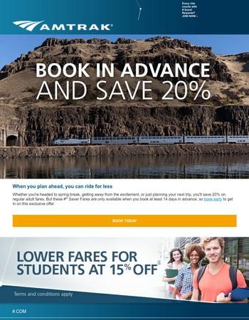 Save 20% on spring travel