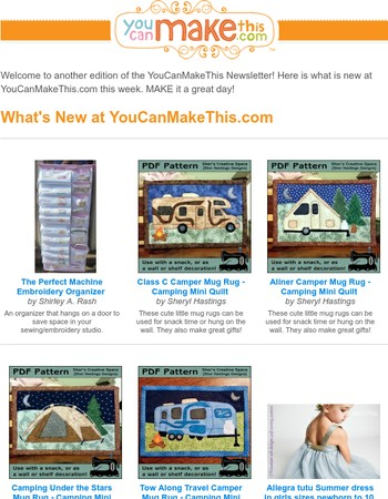 New Camping Mug Rugs, Embroidery Organizer, and Much More at YCMT!