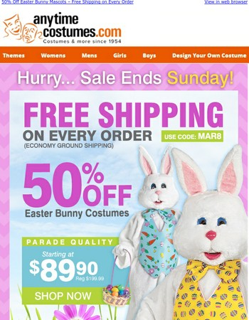 50% Off Easter Bunny Mascots – Free Shipping on Every Order