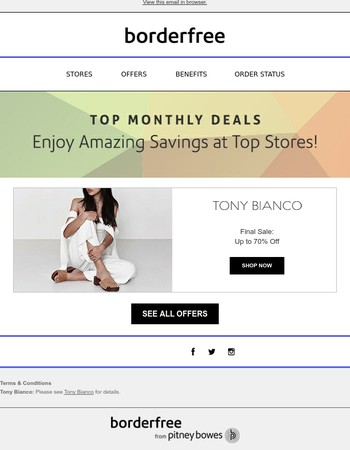 Up to 70% Off at Tony Bianco & More Top Monthly Deals!