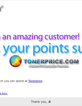 Points Balance Summary from Tonerprice!