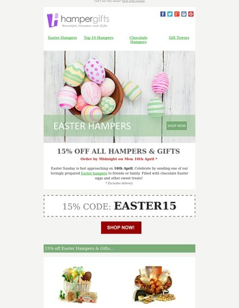 15% off Easter Hampers - Code Expires Tonight!