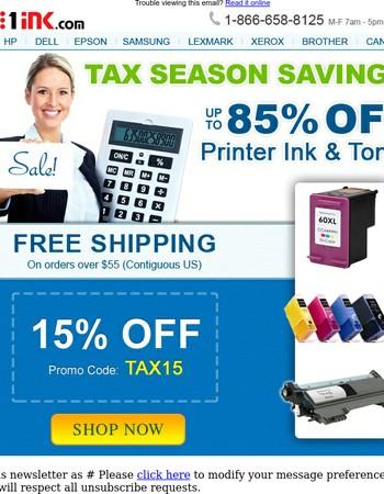 Tax Season Sale - 15% off your printer ink