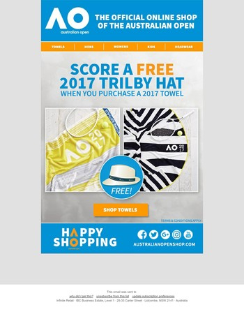 Score A Free 2017 Trilby Hat When You Purchase A Towel