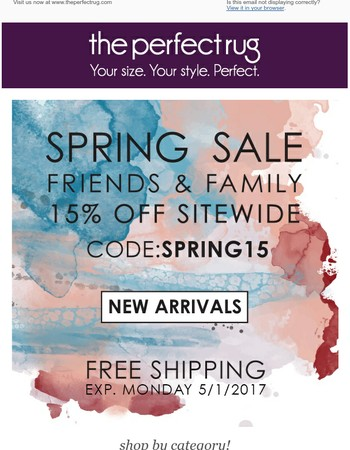 The Perfect Rug Spring Sale!  Save 15% now and always free shipping.