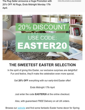 Easter 20% Off Sale at The Rug Seller