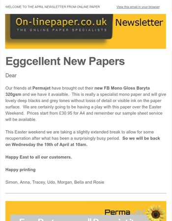 The Clearance, New Products, Holiday Times On-LIne paper News letter