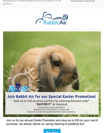 Rabbit Air's Annual Easter Special!
