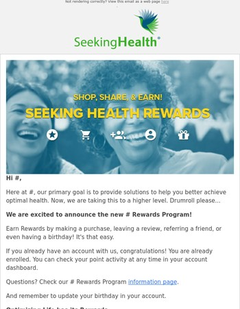Earn and Redeem with Seeking Health Rewards
