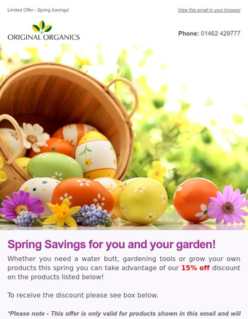 Spring savings at Original Organics!