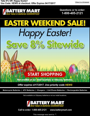 VIP Customer, Your Easter Weekend Savings Have Arrived.
