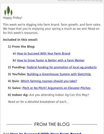 Round up: Farm brand, farm mentors, and farm sales