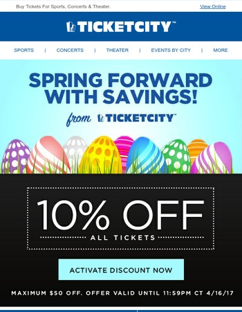 Celebrate Spring - Save 10% at TicketCity!