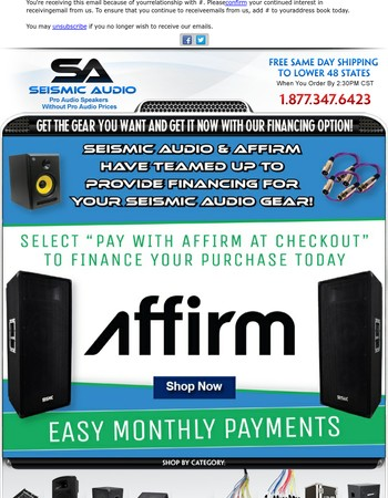 Wait no more! Get your gear today with Financing on Seismic Audio!