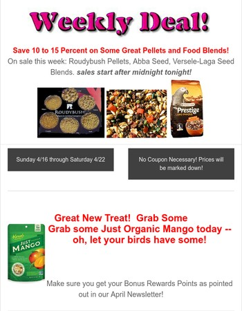 Birdsafe StoreWeekly Deal 4/16 to 4/22