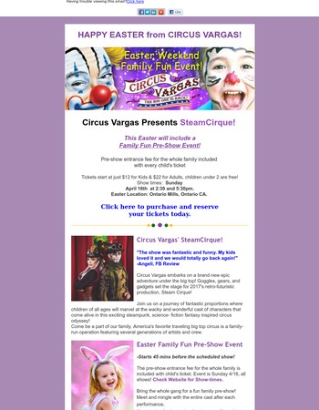 Easter  Plans With Family?  Come See Circus Vargas' SteamCirque!