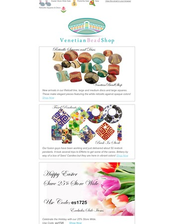 Venetian Bead Shop Newsletter