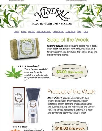 Specials of the Week: Verbena Flower Soap & Almond Hand Cream