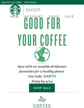 20% off Select Reusable Drinkware