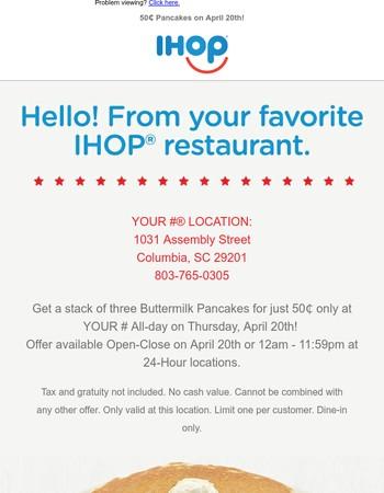 50₵ Pancakes on April 20th!