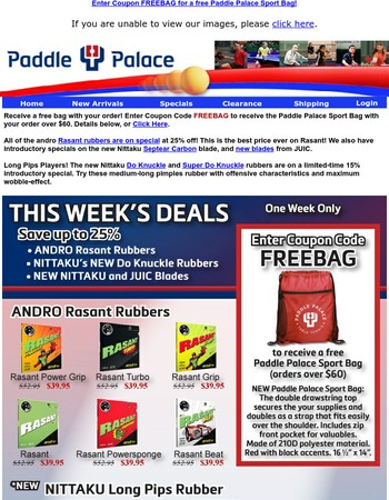 Coupon FREEBAG for a free Paddle Palace Sport Bag
