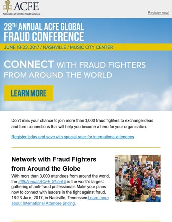 ACFE Global Fraud Conference Networking | Special International Pricing