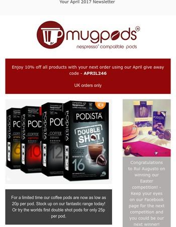Mugpods Newsletter - Discount code inside!