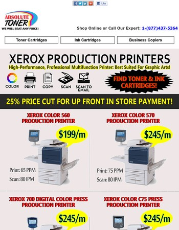 Save Up to 25% on Xerox High Performance Production Printers, Buy or Lease!!