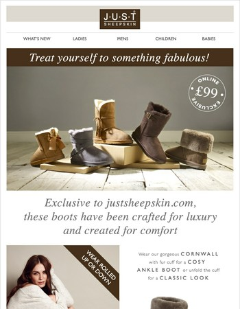 Just Sheepskin : Exclusive £99 Sheepskin Boots in a Range of Styles.