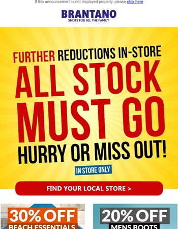 Further Reductions In-Store | EVERYTHING MUST GO
