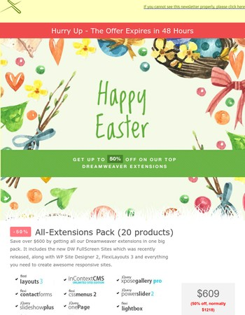 Last Chance to Get the Easter Discounts - Up to 50% Off