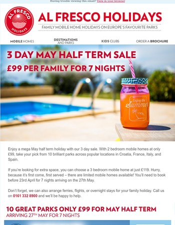 7 night £99 May Half Term holidays