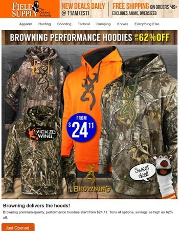 Browning. Hoodies. Cheap.