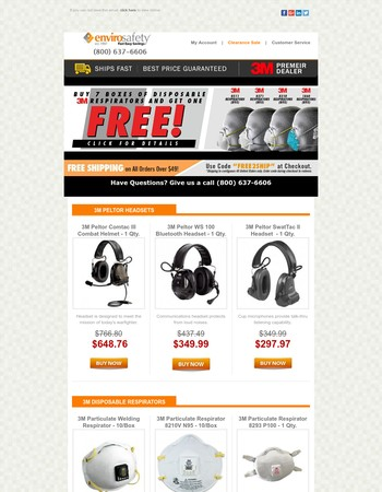3M Deals - Buy 7 Disposable Respirators - Get 1 FREE