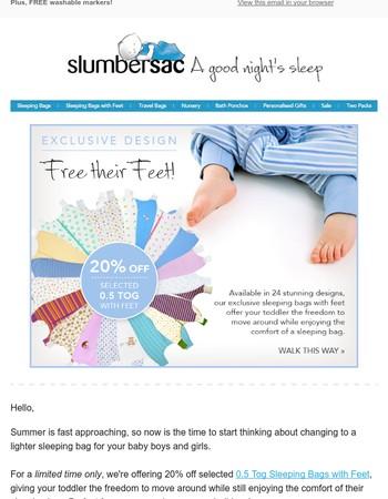20% off Summer Sleeping Bags with Feet