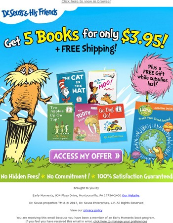 Earth Day Special: 5 Dr. Seuss Books for $3.95 + FREE Gift
