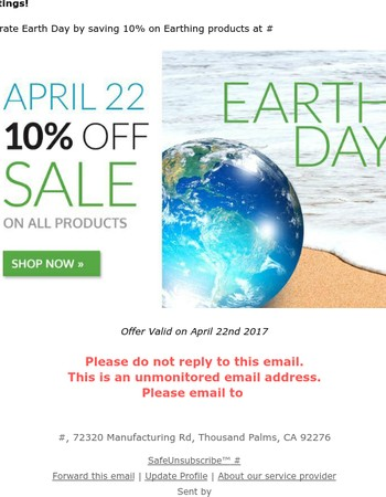 Save 10% On Earth Day