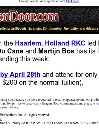 Holland RKC, last major discount ends April 28