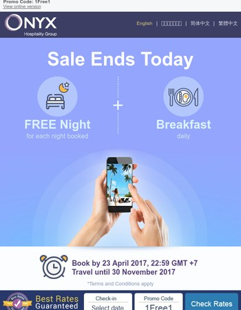 Don't miss. FREE NIGHT sale about to end...
