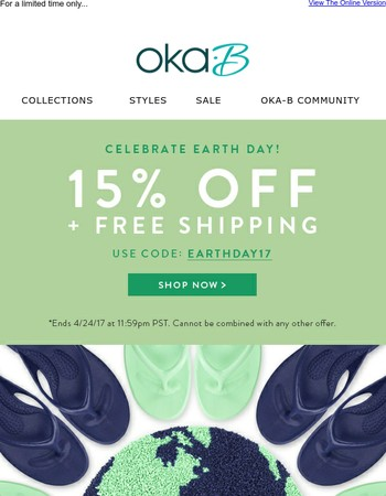 Celebrate Earth Day With 15% Off AND Free Shipping!