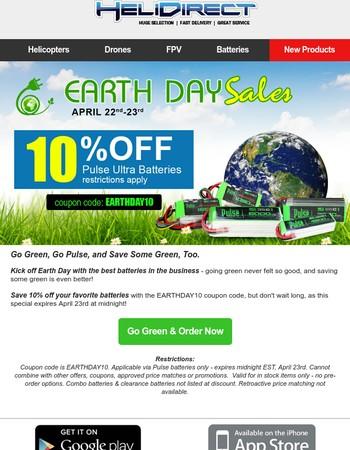 Earth Day - 10% Off Pulse LiPo Batteries