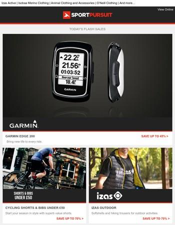 Garmin Edge 200 | Cycling Shorts & Bibs Under £50 | Izas Outdoor | Running Clothing | Onia Beachwear | Up to 70% Off!