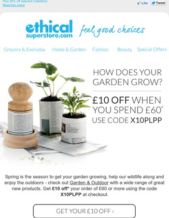 Enjoy the Garden & Outdoors - plus get £10 off