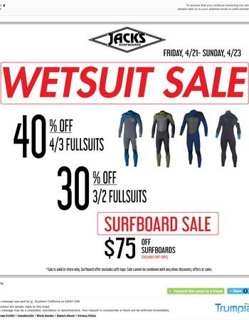 Last Chance: Wetsuit & Surfboard Sale!
